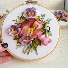 Pansies embroidery hoop art,Framed silk ribbon embroidery,Flower inch round farmhouse wall decor Purple and red pansies Embroidery hoop art Framed Silk ribbon embroidery Miniature 5 inch round Flor Silk Ribbon Embroidery, Embroidery Hoop Art, Embroidery Patterns, Embroidery Stitches, Embroidery Saree, Embroidery Tattoo, Embroidery Bracelets, Ribbon Art, Ribbon Crafts