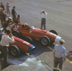 Luigi Musso (F-1 Ferrari), leaves the pit. 1957 Monza, italian Gran Prix.