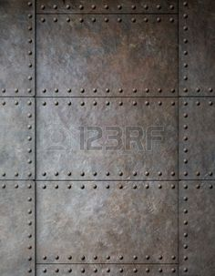 steel metal armour background with rivets Stock Photo