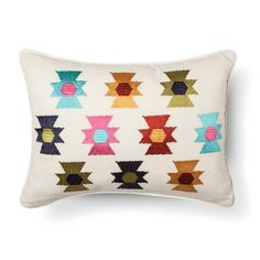 Zorada Embroidered Aztex Decorative Pillow 14x18 Multicolored - homthreads™. Image 1 of 1.