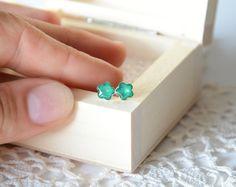 Green flower earrings sterling silver tiny ear by BalanceAtelier