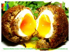 Alkaline Recipes: Sprouted Scotch Duck Eggs Serves 4  5 duck eggs  250 g of lentil spouts  40 g of red onion 1 small 20g of sun dried tomatoes 50g of, ground sunflower seeds  50 g of ground almonds 40 g of ground oats   20 g of ground, dried onions  5 grams of fresh basil  Teaspoon of oregano L& P optional  S & P