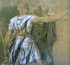 Oath of the Horatii: the Three Horatii, black chalk and white highlights, × cm Jacque Louis David, White Highlights, Romantic, Painting, Fictional Characters, Black, Art, Art Background, Black People