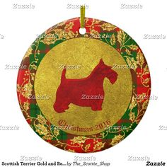 Scottish Terrier Gold and Red Personalize Ceramic Ornament