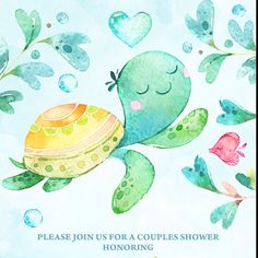 Ocean Baby Shower Invitation, Turtle Baby Shower Invitation, Under The Sea Baby Shower Invitation,Under The Sea Invitation,Digital File Cute Baby Turtles, Turtle Baby, Under The Sea Drawings, Ocean Baby Showers, Baby Shower Background, Illustration Inspiration, Turtle Painting, Image Fun, Easy Drawings