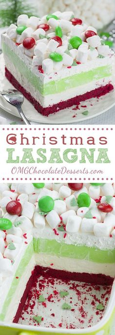 Lasagna Christmas Lasagna is whimsical layered dessert that will be a hit at your Christmas gathering!Christmas Lasagna is whimsical layered dessert that will be a hit at your Christmas gathering! 13 Desserts, Holiday Desserts, Holiday Baking, Holiday Treats, Holiday Recipes, Delicious Desserts, Christmas Recipes, Dinner Recipes, Holiday Foods
