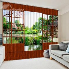 Scenery Curtains splendid mountains and river with trees nature scenery printing