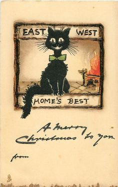 "vintage black cat at fireside  ""A Merry Christmas to you""  handwritten"