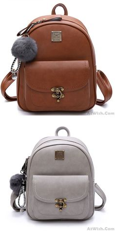 Leisure Lock Button Retro Pure Color Student Bag Women Backpack Source by bag pattern Mini Backpack Purse, Small Backpack, Cute Backpacks, School Backpacks, Hair Band For Girl, Forever 21 Bags, Brown Leather Backpack, Retro Girls, Girls Bags