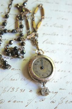 Time Flies-Vintage gold watch necklace by frenchfeatherdesigns