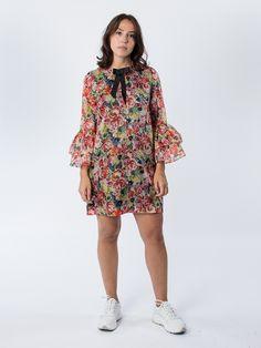 Ganni Seneca Silk Multicolour Dress