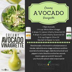 Young Living Essential Oils:  Creamy Avocado Vinaigrette Recipe