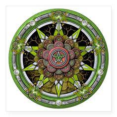 Earth Elemental Pentacle Tile Coaster by Naumaddic Arts - CafePress Pagan Art, Magic Symbols, Wicca Witchcraft, Celtic Tree, Asian Design, Triple Goddess, Pentacle, Native American Art, Book Of Shadows