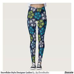 Snowflake Style Designer Ladies Leggings