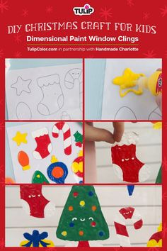 Keep your kiddos crafty this Christmas – and decorate at the same time – with this window clings DIY Christmas craft for kids! #christmascraft #windowcling #kidscraft #holidaycraft