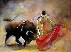 Gallery featuring the modern colourful and vibrant gouache bullfight paintings in loose style by the French artist living in Spain Miki de Goodaboom Watercolor Animals, Watercolor Art, Abstract Drawings, Abstract Art, Gouache, Silhouette, French Artists, Abstract Expressionism, Les Oeuvres