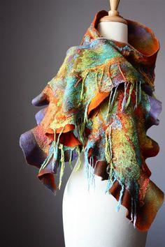Nuno Felted scarf  Wool cotton fringe  handdyed painted ruffled Orange Purple Blue Yellow  nunofelting