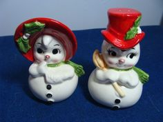 VINTAGE LEFTON CHRISTMAS SNOWMAN SELT & PEPPER SET SNOWWOMAN - FREE SHIPPING