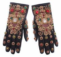 NWT $3700 DOLCE & GABBANA Black Leather Gold Crystal Baroque Wrist Gloves 7.5/ S
