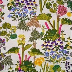 Rhubarb by Jobs Handtryck Textiles, Pretty Patterns, Halle, Scandinavian Design, Style Inspiration, Wallpaper, September, Fabrics, Bohemian