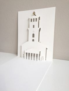 Pop-up card for the Cathedral of Copenhagen with gold-foil on the cross