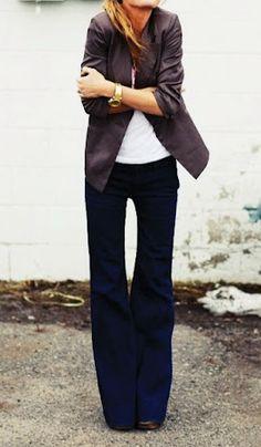 Wide leg jeans.