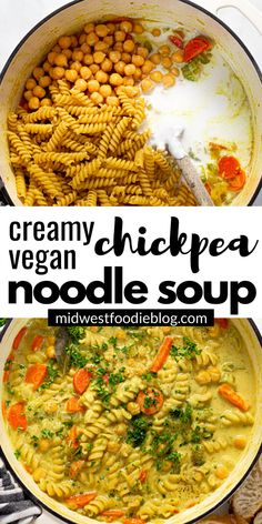 This creamy chickpea noodle soup is the best vegan comfort food - filled with pantry ingredients and warm, cozy flavors that your family will love! Tasty Vegetarian Recipes, Vegan Soups, Vegan Dinner Recipes, Vegan Dishes, Veggie Recipes, Whole Food Recipes, Soup Recipes, Cooking Recipes, Healthy Recipes