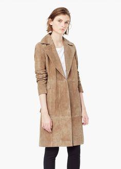 Suede trench - Coats for Women | MANGO