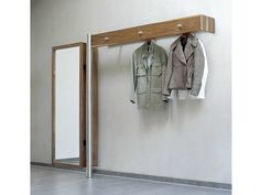 Wall-mounted coat rack / contemporary / in wood / stainless steel - Flurmöbel - wissmann raumobjekte Retro Furniture, Wood Furniture, Furniture Design, Wall Mounted Coat Hanger, Garderobe Design, Wooden Coat Rack, Hallway Storage, Foyer Design, Home Decor Bedroom