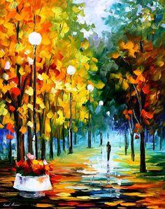 Autumn Park PALETTE KNIFE Landscape Modern by AfremovArtStudio