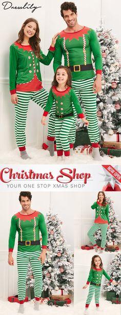 38fd643744 Elves Matching Family Christmas Pajamas.  dresslily  christmas  pajamas