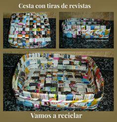 ¡Vamos a reciclar! - Cesta cuadrada con revistas
