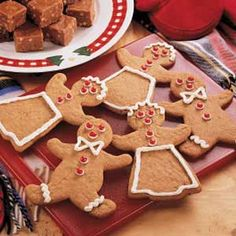 Easy Gingerbread Cutouts Recipe ~ INGREDIENTS: Package spice cake mix  All-purpose flour - Eggs - Canola oil - Molasses - Ground ginger - Cream cheese frosting - Red-hot candies