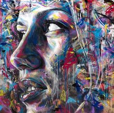 Street art by David Walker: my new art inspiration. He uses only spray paint. He uses clashing colors to represent the times he had to beg for paint colors other than black, white, or pink David Walker, Walker Art, Best Graffiti, Street Art Graffiti, Urban Street Art, Urban Art, L'art Du Portrait, Art Du Monde, Graffiti Artwork