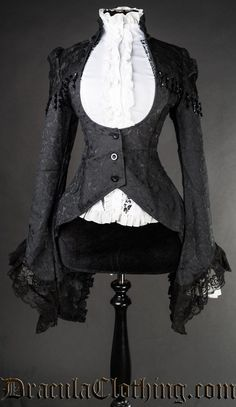 BROCADE LACE TAILCOAT This victorian tailcoat is made of black brocade material, with lace and beads on the shoulders and lace details on the collar. The jacket laces up in the back for a perfect fit Steampunk Accessoires, Mode Steampunk, Steampunk Fashion, Lolita Fashion, Gothic Fashion, Vintage Fashion, Style Lolita, Gothic Lolita, Gothic Outfits