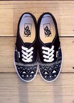 custom vans shoes black and white