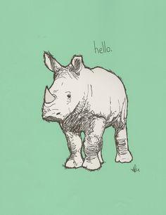 hello. rhino. Art Print