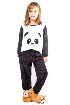 55ea3656a Compre Pijama de Panda Infantil Mania Pijamas Preto na Dafiti Brasil. ✓  Frete grátis para todo o Brasil. ✓ A Devolução e a Troca é por nossa conta.