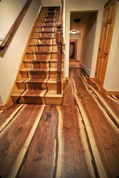 These hardwood floors and stairs are gorgeous! Natural organic log unique cabin These hardwood floors and stairs are gorgeous! Walnut Floors, Hardwood Floors, Walnut Wood, Floor Design, House Design, Yard Design, Into The Woods, Wooden Stairs, Rustic Stairs