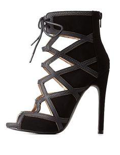 Qupid Lace-Up Caged Peep Toe Heels: Charlotte Russe