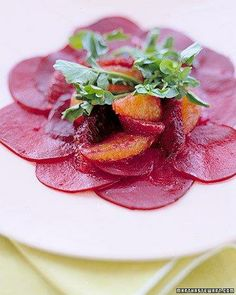 Thinly Sliced Beets with Blood Oranges and Watercress Recipe