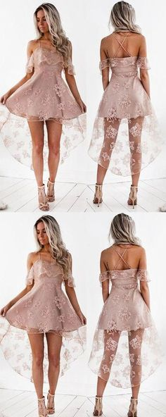High Fashion Homecoming Dresses,A-Line Lace Prom Dresses,Off-Shoulder High Low Short Homecoming Dress,Cute Mini Sweet 16 Dresses,Homecoming Hoco Dresses, Dresses For Teens, Dance Dresses, Homecoming Dresses, Girls Dresses, Formal Dresses, Dress Prom, Homecoming Ideas, 1950s Dresses