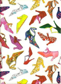 Andy Warhol Shoes Flat Paper Sheet 20 x 30 inches. $5.00, via Etsy.