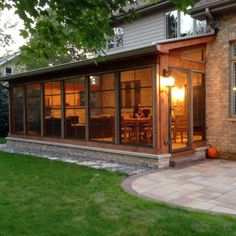 Cedar Screen Porch with Eze-Breeze Windows by Suburbs of Chicago Porch Builder - Design Ideas - Archadeck Screened Porch Designs, Backyard Patio Designs, Screened In Porch, Enclosed Porches, Decks And Porches, 4 Season Room, 3 Season Porch, Porch Kits, Porch Ideas