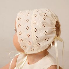 Baby girl hat baptism bonnet baby summer cap ivory by Graccia