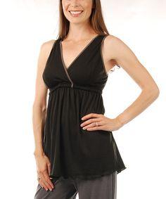 Love this Black Serenity Nursing Pajama Top - Plus Too on #zulily! #zulilyfinds