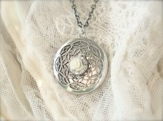 Antiqued silver locket necklace  Filigree and by sweetsimple