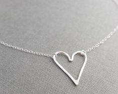 Silver heart necklace - dainty necklace, sterling silver necklace, hammered silver necklace, open heart necklace, layering necklace, love he