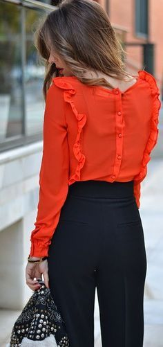 Office look   Red ruffling blouse with high waist black pants #legs