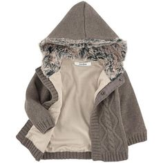 Marèse - Knit cardigan with a fur-lined hood - 140846